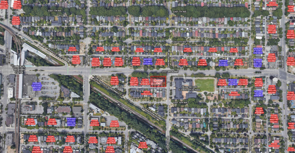 Site of 2062-2092 East Broadway, and the height limits of the area based on the City of Vancouver's Grandview-Woodland Plan. Click on the image for an enlarged version. (RH Architects/Bucci Developments)